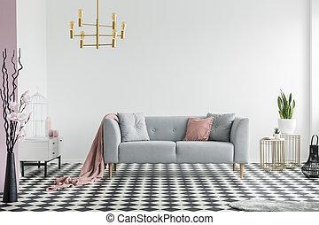 rosa, reale, appartamento, oro, divano, coperta, grigio, lampada, spazioso, sopra, foto, interno, plants.