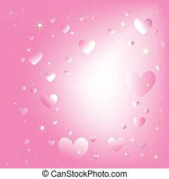 rosa, romantico, sfondo colore, sfavillante, stelle, cuori
