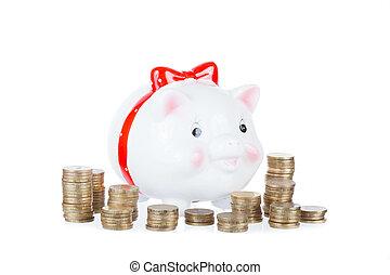 rosa, scatola, monete oro, pig-coin, colonne