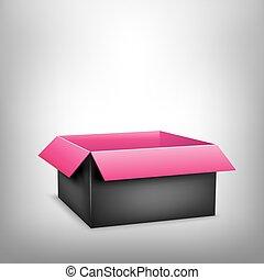 rosa, scatola, nero, 3d