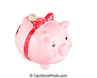 rosa, scatola, pig-coin, fondo, bianco, moneta
