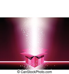 rosa, scatola, regalo, stars.