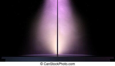 rosa, scuro, isolato, luminoso, polo, fondo, spogliarellista, riflettore, singolo, palcoscenico