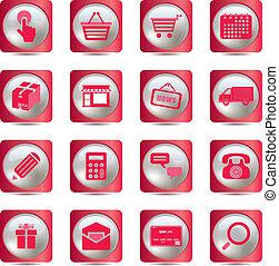 rosa, set, shopping, icone