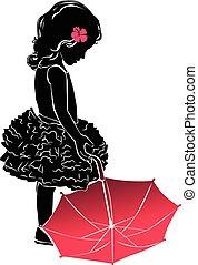 rosa, silhouette, poco, ombrello, ragazza