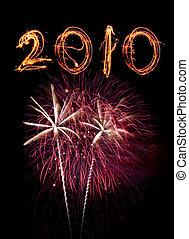 rosa, sky., sparklers, fireworks, contro, scritto, nero, 2010