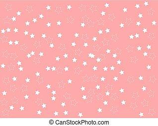rosa, stelle, pianura, illustrazione, vettore, fondo, pulito, bianco