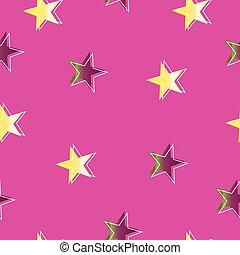 rosa, stelle, viola, modello, seamless, sfondo giallo