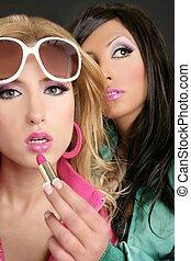 rosa, stile, moda, barbie, ragazze, trucco, bambola, lipstip