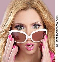 rosa, stile, moda, blode, barbie, bambola, trucco, ragazza