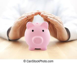 rosa, tavola., soldi., proteggere, protetto, banca, legno, mani, piggy, tuo