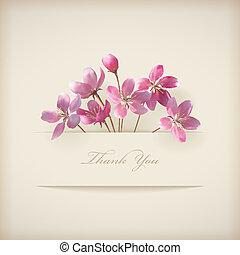 rosa, 'thank, you', primavera, vettore, floreale, fiori, scheda