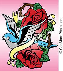 rosa, uccello tribale, tatuaggio