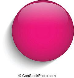 rosa, vetro, cerchio, bottone, icona