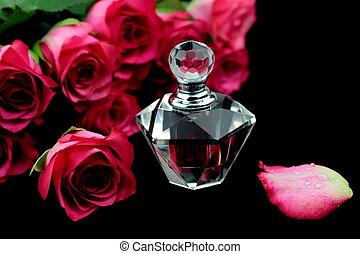 rosa, vetro, rose, bottiglia, profumo