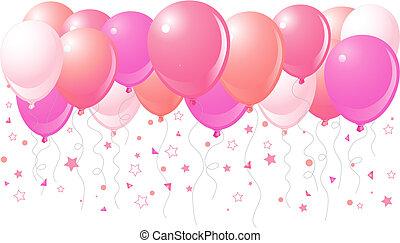 rosa, volare, palloni, su
