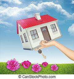 rosa, womans, casa, mano, chiave, fiori