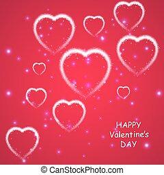 rosa, you., vettore, amore, card., cuori, valentines, fondo, augurio, illustrazione, fondo., freccia, luce, stelle, 14, february., cadere, vacanza, giorno, felice
