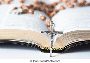 rosario, riposare, croce, ancora, perline