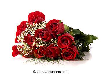 rose, bianco, boquet, o, rosso