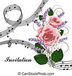 rose dentellare, musica, note.