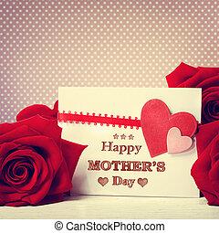 rose, messaggio, felice, giorno, madri