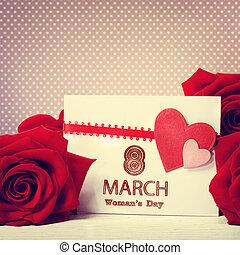 rose, messaggio, giorno, rosso, womans
