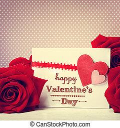 rose, messaggio, giorno valentines, rosso
