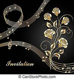 rose, musica, note., oro