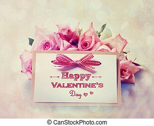rose, valentines, fatto mano, giorno, scheda