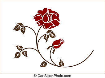 rosso, backgroud., rose, bianco