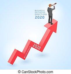 rosso, concettuale, cima, iniziativa, standing, vettore, disegno, arrow., illustrations., isometrico, indicazione, uomo affari, affari