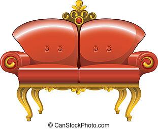 rosso, divano, vendemmia