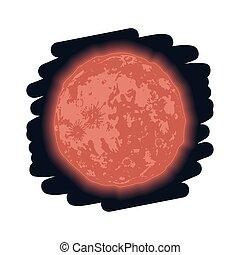 rosso, fase, luna