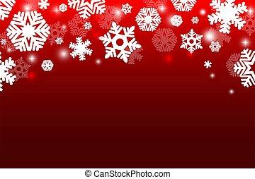 rosso, fiocchi neve, luce, fondo, natale