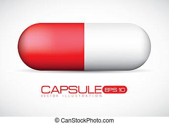 rosso, illustrazione, capsula