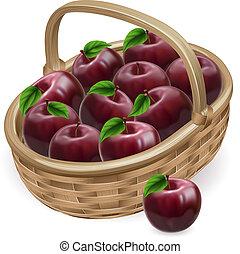 rosso, illustrazione, cesto, mela