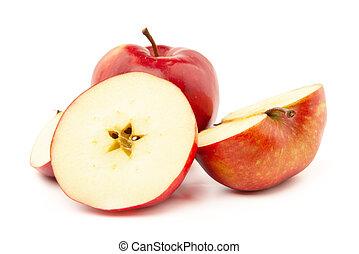 rosso, intero, fondo., bianco, affettato, mela