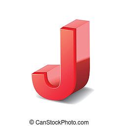 rosso, j, 3d, lettera