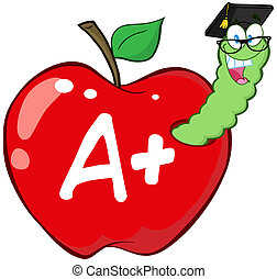 rosso, lettera, mela