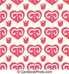 rosso, modello, retro, seamless, popolo, cuore
