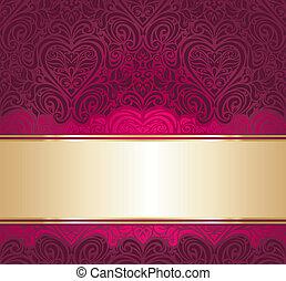 rosso, oro, fondo, invito