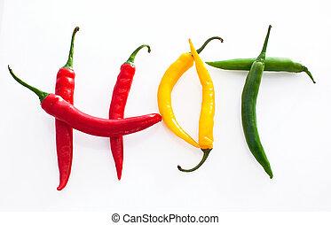 rosso, peperoncino, caldo, fondo, pepe, verde giallo, fatto, parola, bianco