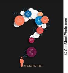 rosso, sagoma, scuro, astratto, cerchi, domanda, infographic, -, marchio, blu, vettore