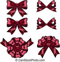 rosso, set, archi, regalo, ribbons.