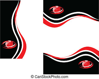rosso, stazionario, affari, nero, set, bianco