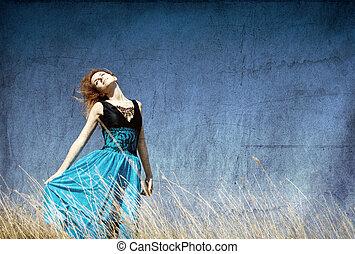 rosso, ventoso, field., ragazza
