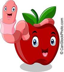 rosso, verme, carino, mela