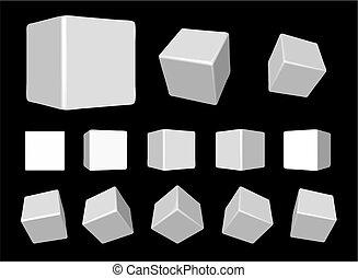 rotante, bianco, cubi