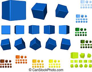rotante, colori, cubi